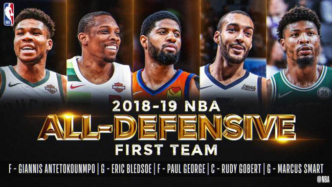 Antetokounmpo, Bledsoe, George, Gobert y Smart forman el mejor quinteto defensivo de la NBA en 2019.