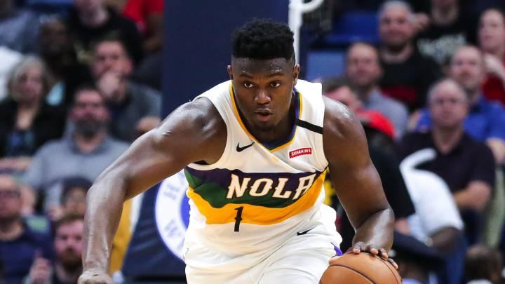 Zion Williamson, durante el partido de la NBA que ha enfrentado a los Portland Trail Blazers y a los New Orleans Pelicans