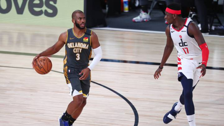 Chris Paul, durante el partido de la NBA que ha enfrentado a Oklahoma City Thunder y a los Washington Wizards