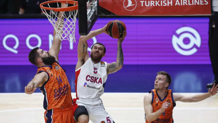04/01/21  PARTIDO BALONCESTO BASKET  EUROLEAGUE EUROLIGA REGULAR SEASON ROUND 24  VALENCIA BASKET - CSKA MOSCU  MIKE JAMES   BOJAN DUBLJEVIC