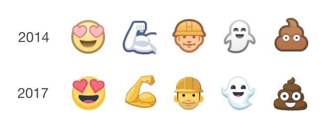 69af89c6b12 Comparativa entre los emojis de hace tres años y los que han llegado esta  semana.