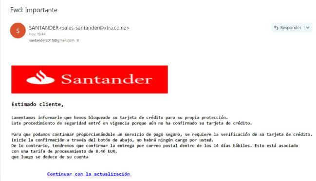 santander falso