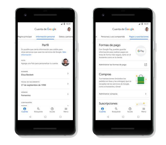 Interfaz de Cuenta de Google