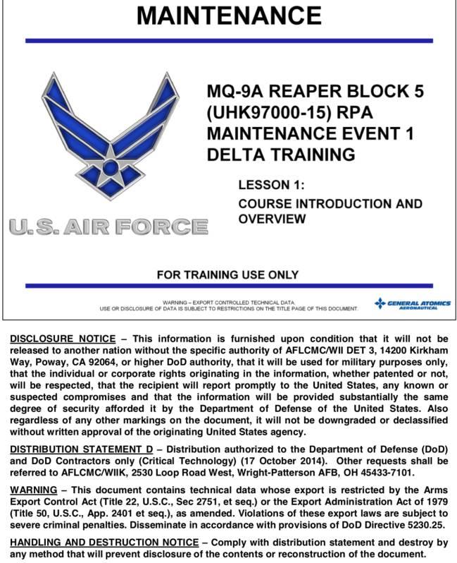 La primera hoja del manual de mantenimiento del Predator B