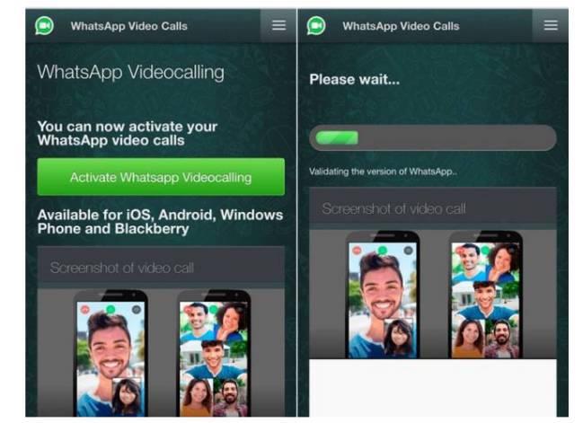 Cuando las videollamadas de WhatsApp no estaban aun implementadas, los intentos de Phishig las usaban de reclamo