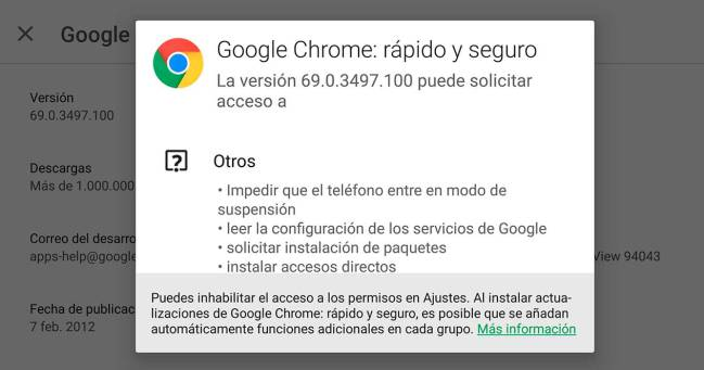 Google Chrome móvil no pide permisos para acceder a los sensores del terminal