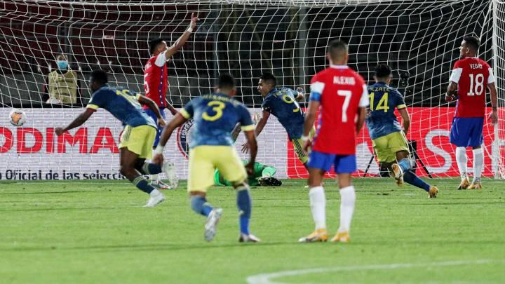 A Chile otra vez se le escapó en el final y Colombia se lleva un empate