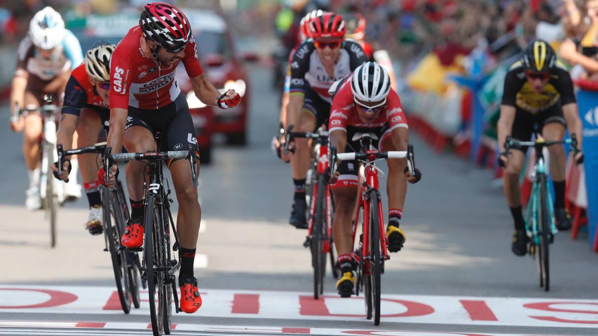 Thomas de Gent festeja su victoria en la 19º etapa de la Vuelta a España 2017.
