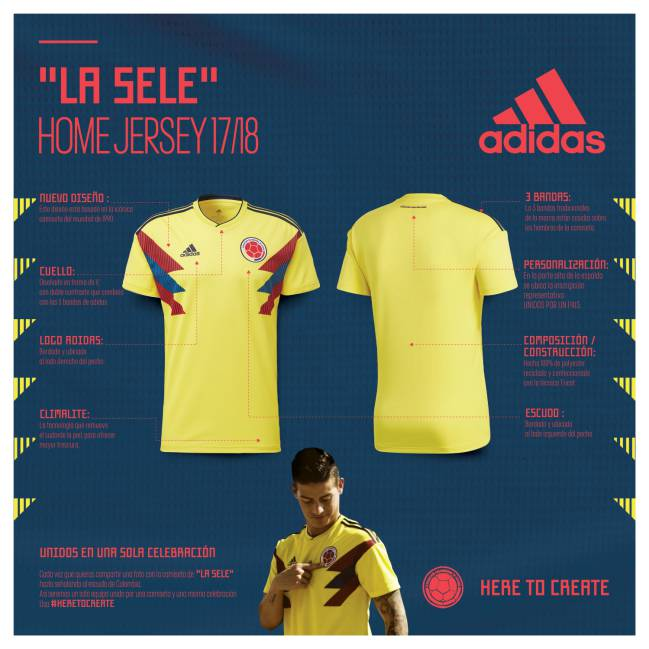 46720574a2 Camiseta de Colombia para Rusia 2018
