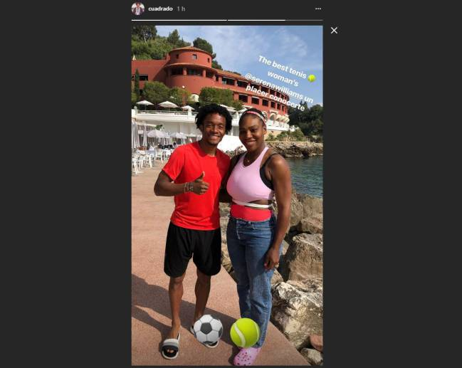 Juan Cuadrado junto a Serena Williams