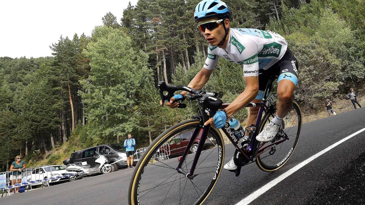 El ciclista colombiano Miguel Ángel López del equipo Astana fue tercero en la Vuelta a España 2018, por detrás del británico Simon Yates y Enric Mas