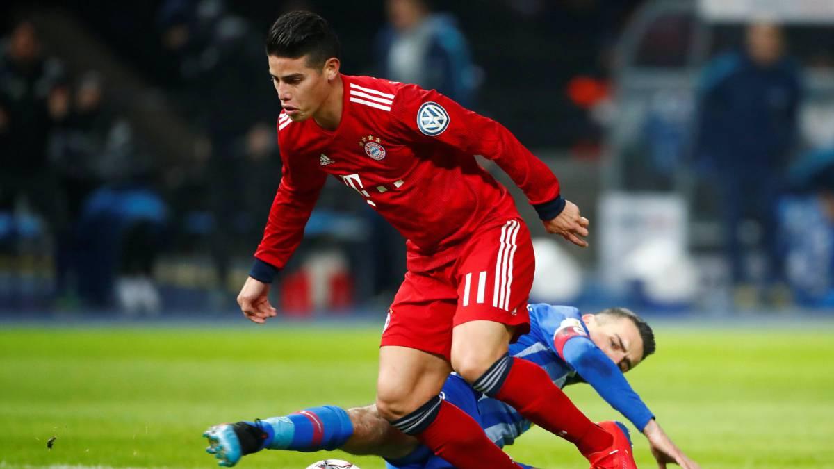 James Rodríguez dio asistencia en el triunfo de Bayern Múnich sobre Hertha Berlín por Copa de Alemania.