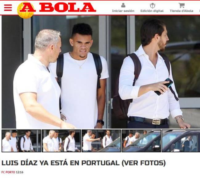 Luis Díaz ya llegó a Oporto para firmar con el Porto.