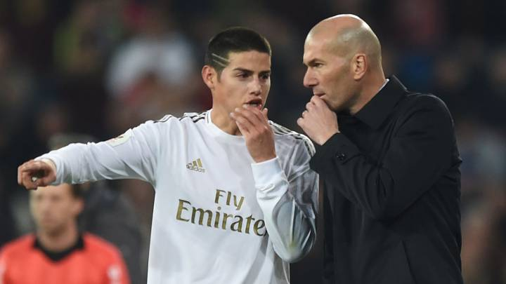 James Rodríguez y Zinedine Zidane en Real Madrid