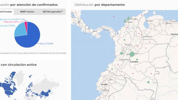 Mapa de la organización de casos y muertes por coronavirus en Colombia