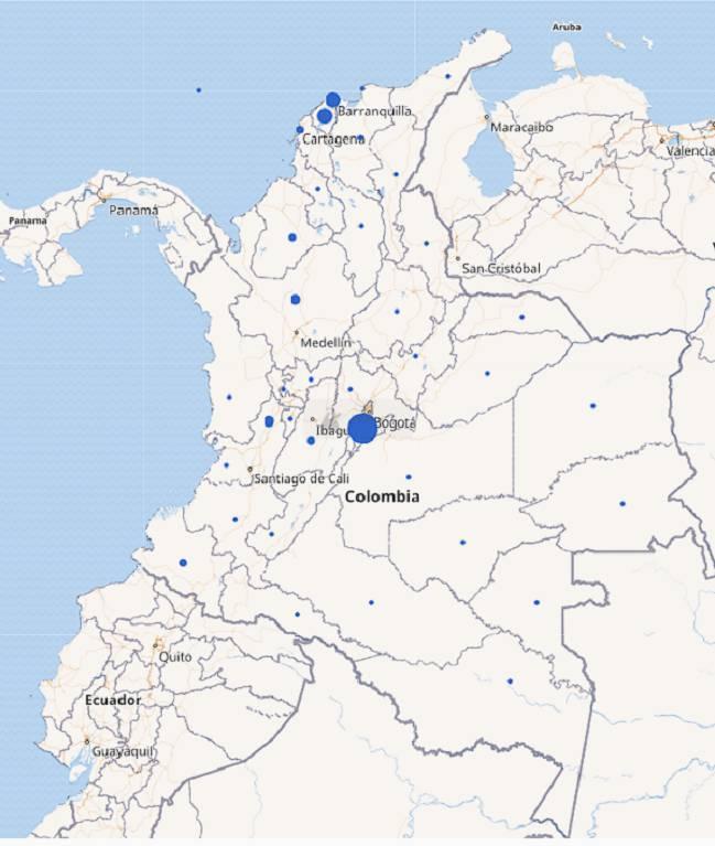 Mapa de casos de coronavirus