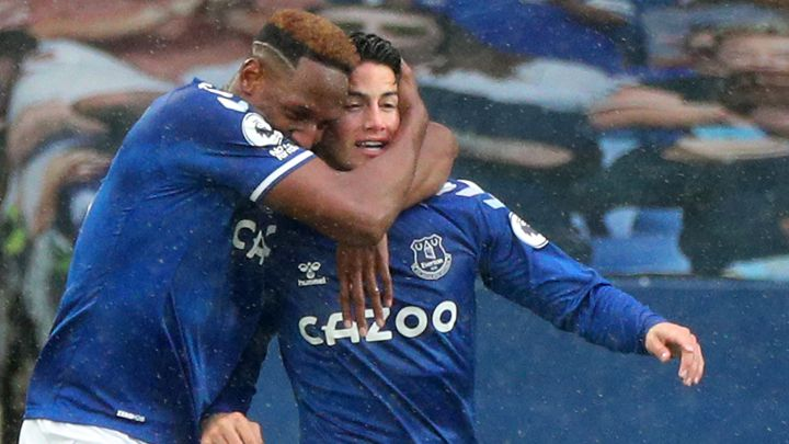 James Rodríguez y Yerry Mina, jugadores colombianos de Everton
