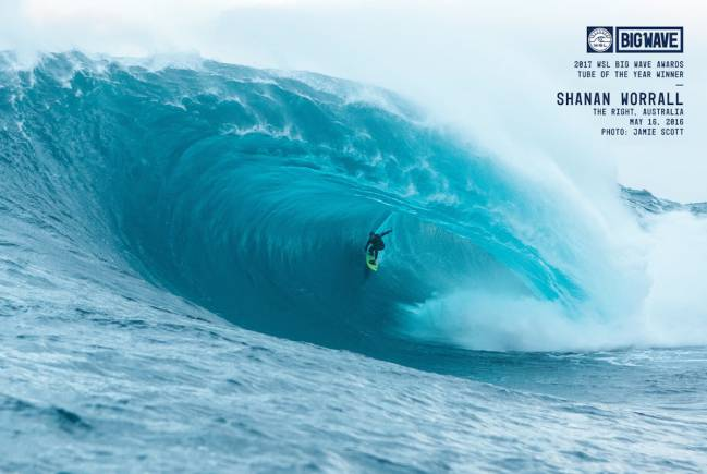 Shanan Worrall The Right Tube of the year Big Wave Awards 2017.