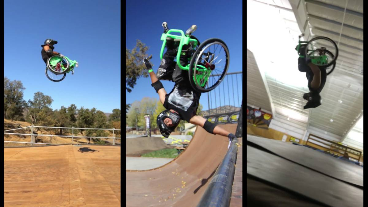 aaron wheelz fotheringham, capturas video devin super tramp wcmx wheelchair