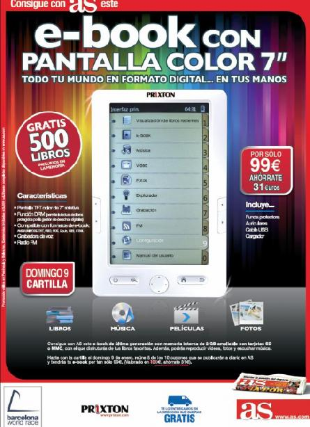 Consigue con AS este EBOOK con pantalla a color de 7""