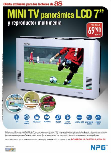 "Consigue con AS una MINI TV LCD de 7"" NPG"