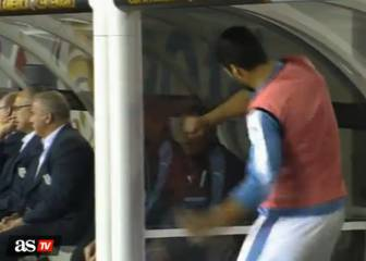 Luis Suarez goes loco on the Uruguay bench v Venezuela
