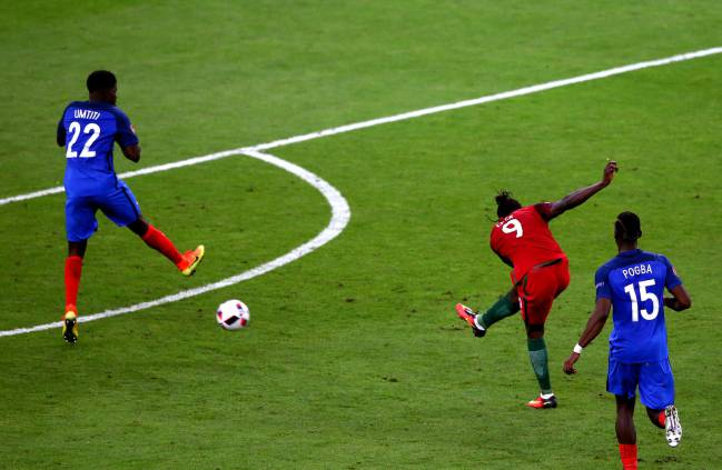 Eder of Portugal scores the deciding goal.