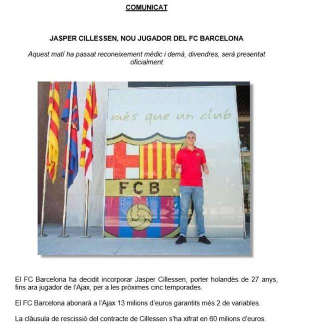 Transfer Market Real Madrid S 570m Euros For: Barcelona: Jasper Cillessen Completes Barcelona Move