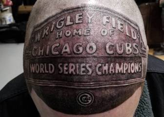 Cubs fan pays tribute to World Series with tattoo on his head