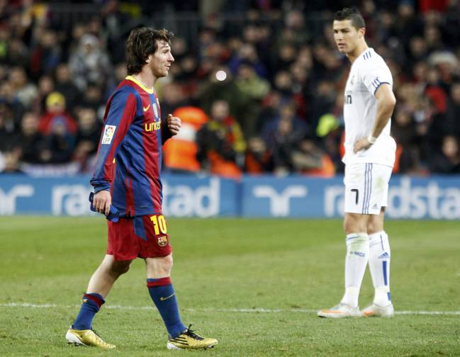 Barcelona's Lionel Messi and Real Madrid's Cristiano Ronaldo at the Camp  Nou ...