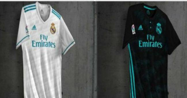 9ae297e7e4b The possible Real Madrid first and second shirts for next season have been  filtered on line. Black with blue trim set to be the 17 18 second shirt.