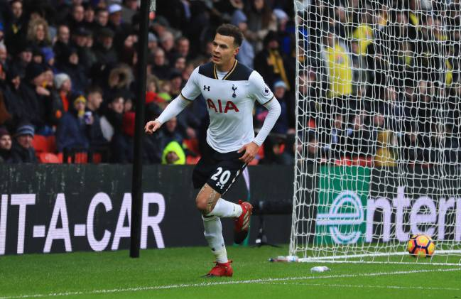 Dele Alli of Tottenham Hotspur celebrates as he scores their third goal during the Premier League match against Watford