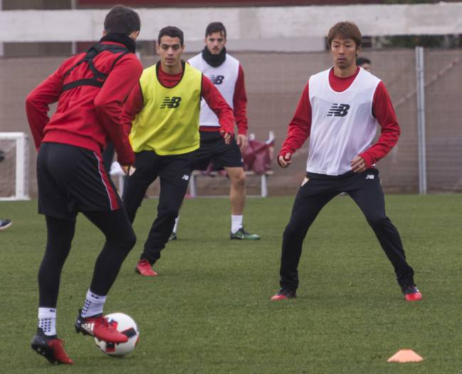 Sevilla players training prior to their game with Real Madrid on Wednesday