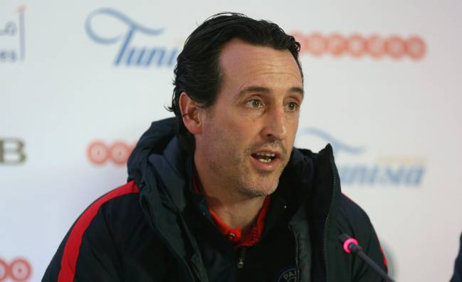 Paris St Germain coach Unai Emery attends the pre-match news conference in Tunisia