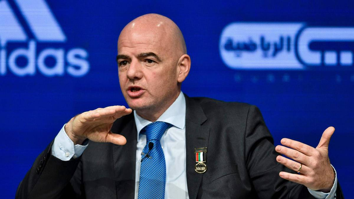 Gianni Infantino speaks during the Dubai international Sports conference at Madinat Jumeirah in Dubai