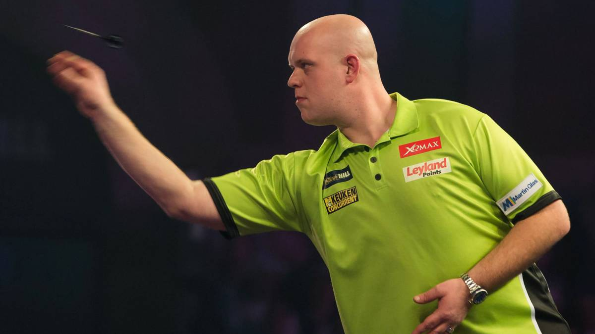 Netherlands' Michael van Gerwen throws during the PDC World Championship darts final