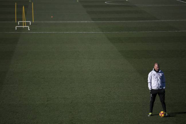 Real Madrid's coach Zinedine Zidane at the Valdebebas training facility, where much of the work is done.