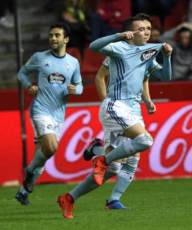 iago Aspas celebrates his goal.