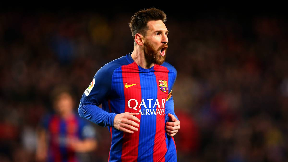 Lionel Messi of Barcelona celebrates after scoring the opening goal during the La Liga match between FC Barcelona and RC Celta de Vigo