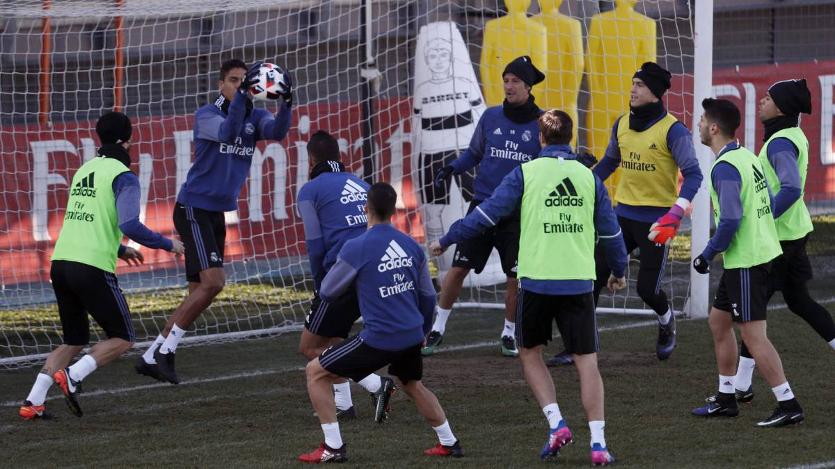 Real Madrid training ahead of their Copa del Rey quarter final against Celta in the Balaídos.