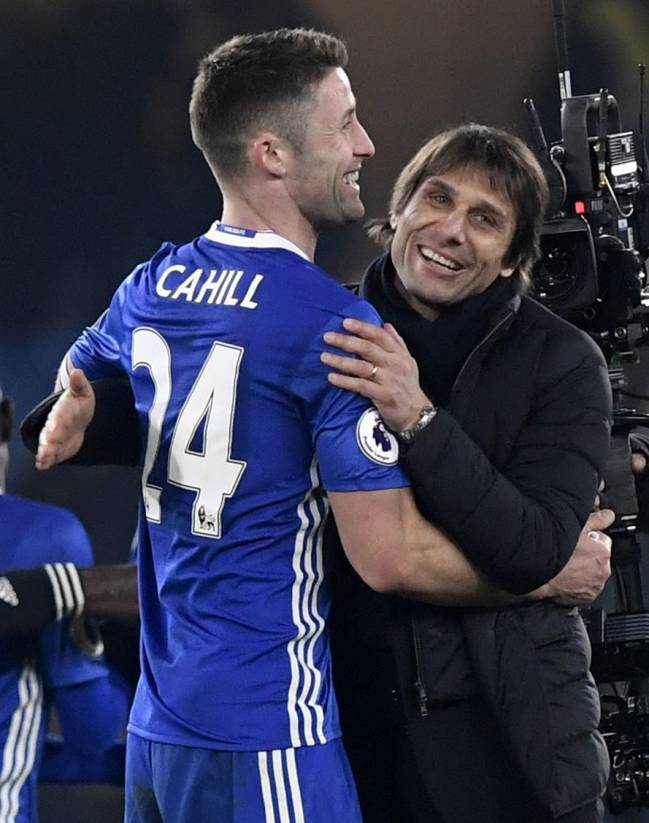 Chelsea manager Antonio Conte celebrates with captain Gary Cahill