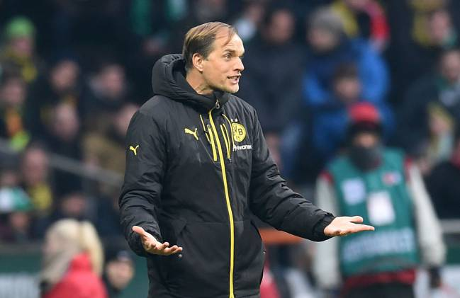 Dortmund's head coach Thomas Tuchel during the Bundesliga match against SV Werder Bremen.