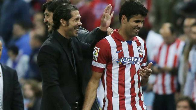 Diego Costa and Diego Simeone during the latter's successful time at the club.