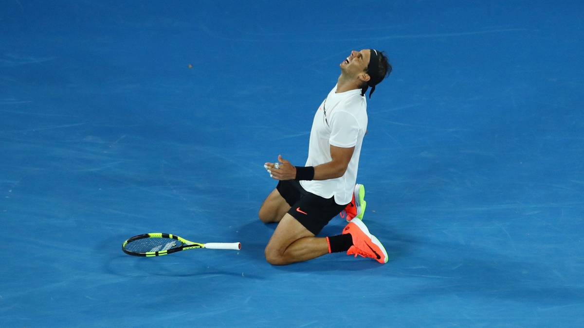 Rafael Nadal of Spain celebrates winning match point in his semifinal match against Grigor Dimitrov of Bulgaria