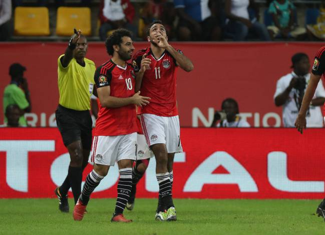 Kahraba of Egypt celebrates a goal with teammate Mohamed Salah during the 2017 Africa Cup of Nations quarterfinal against Morocco.