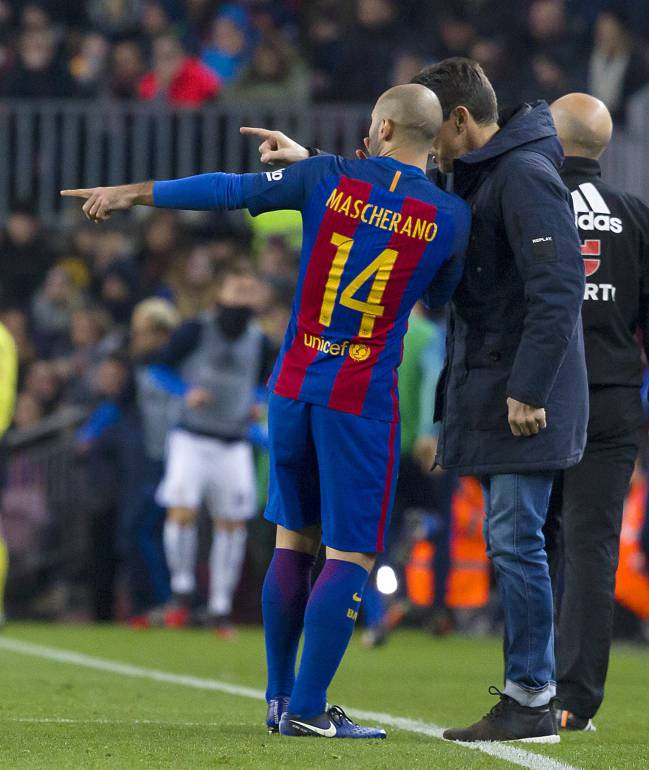 Javier Mascherano has been tasked with holding the fort in midfield in the absence of Sergio Busquets