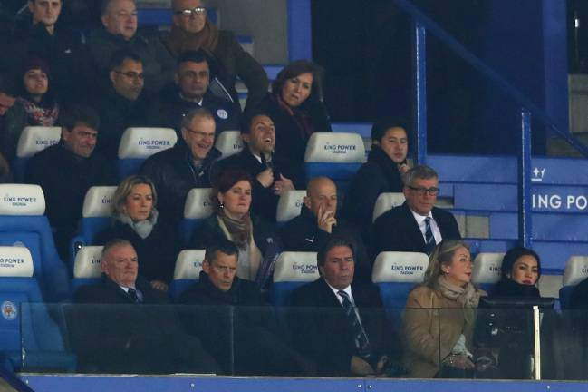 Greg Clarke (bottom left), Chairman of the FA sits with Martin Glenn, CEO of the FA during the Emirates FA Cup Fourth Round replay match between Leicester City and Derby City