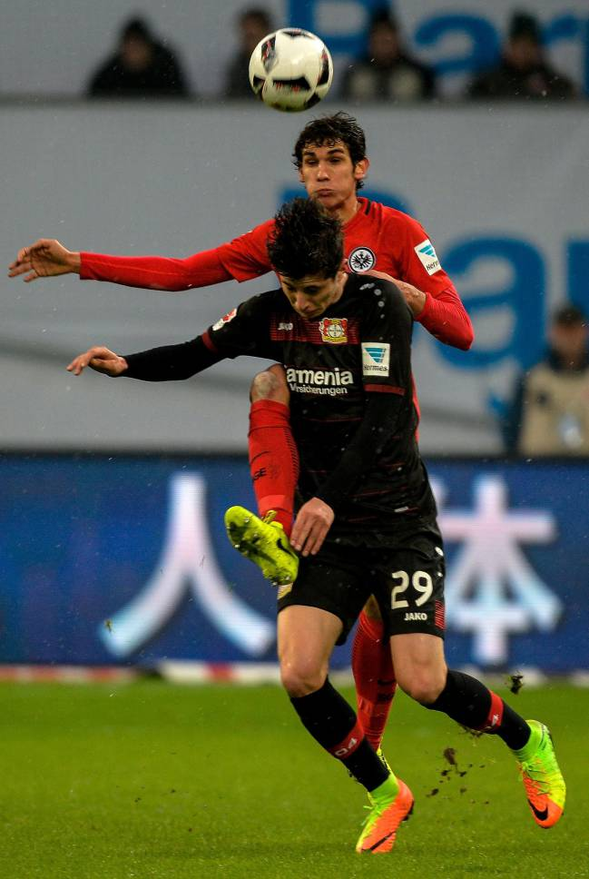 Leverkusen's midfielder Kai Havertz and Frankfurt's Spanish defender Jesus Vallejo vie for the ball during the German First division