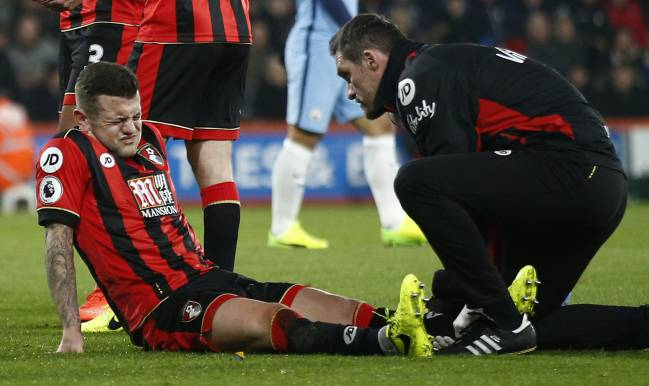 AFC Bournemouth v Manchester City: not for the first time, Jack Wilshere receives medical attention.