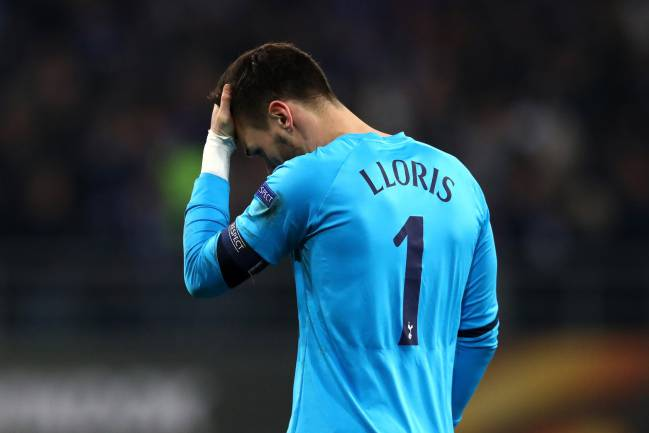 Hugo Lloris of Tottenham Hotspur looks dejected during Gent defeat.